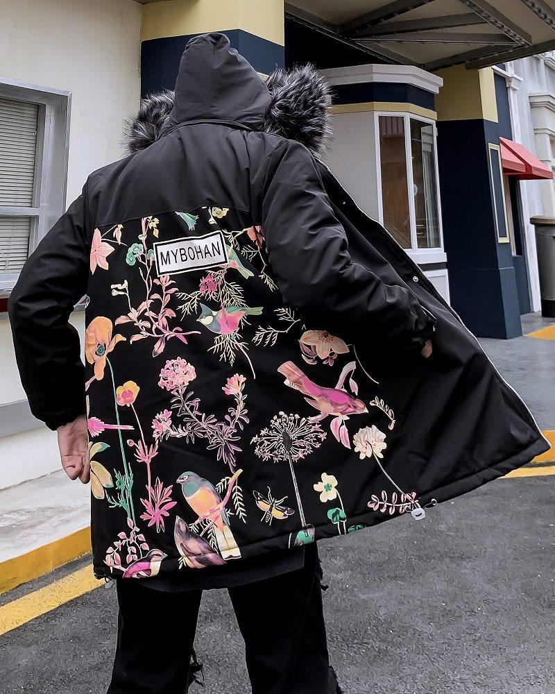 《2色》ハーバル柄ファーフードジャケットの画像3