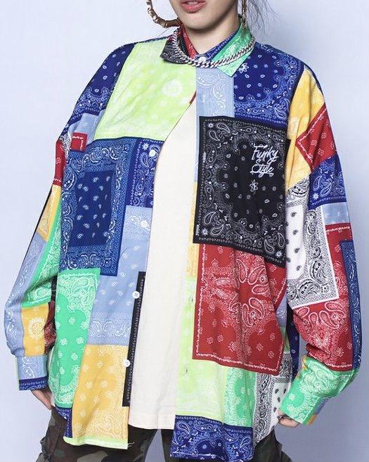(Ver.2)マルチカラーパッチワークバンダナ長袖シャツの画像1