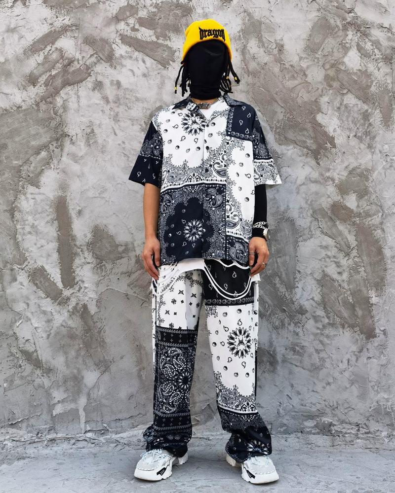 B&Wバンダナ柄ペイズリー半袖シャツの画像4