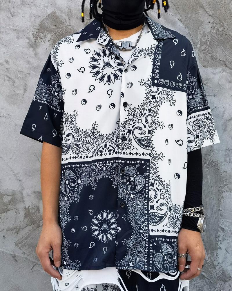 B&Wバンダナ柄ペイズリー半袖シャツの画像1