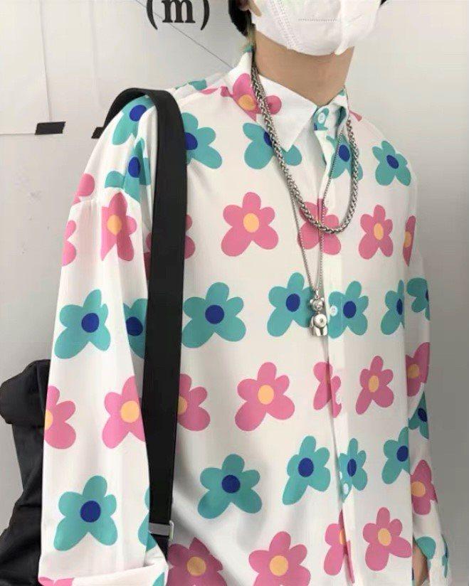 《2色》パステルカラーフラワー長袖シャツの画像3