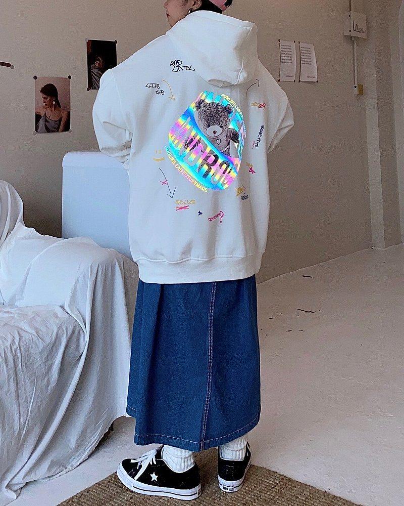 《2色》リフレクトクマパーカーの画像2