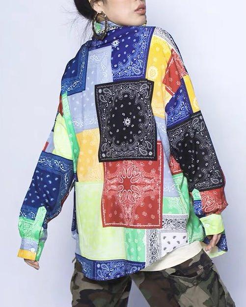 (Ver.2)マルチカラーパッチワークバンダナ長袖シャツの画像3