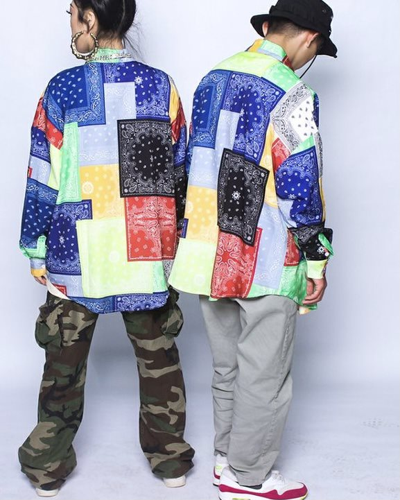 (Ver.2)マルチカラーパッチワークバンダナ長袖シャツの画像2