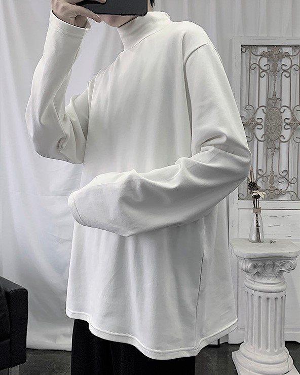 《2色》ベーシックモックネックロングTシャツ(小さいサイズ)の画像1